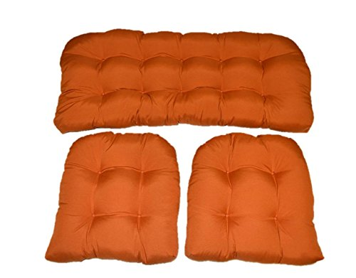 Resort Spa Home Decor 3 Piece Wicker Cushion Set – Clay Pottery Rust Orange Indoor Outdoor Fabric Cushion for Wicker Loveseat Settee 2 Matching Chair Cushions