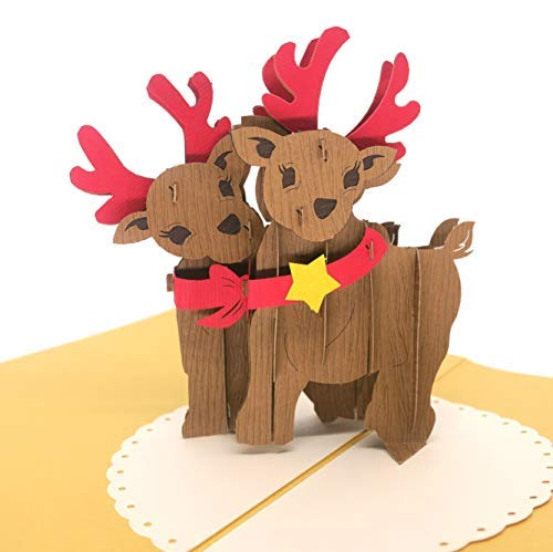- Paper Love Pop Up Reindeer Card, 3D Christmas Card, Holiday Popup Card, Xmas Gift
