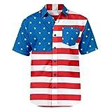 Men's Large Size Fashion Casual July 4 American Flag Print Short Sleeve Pocket Button Print Turn-Down Collar T-Shirt Shirt