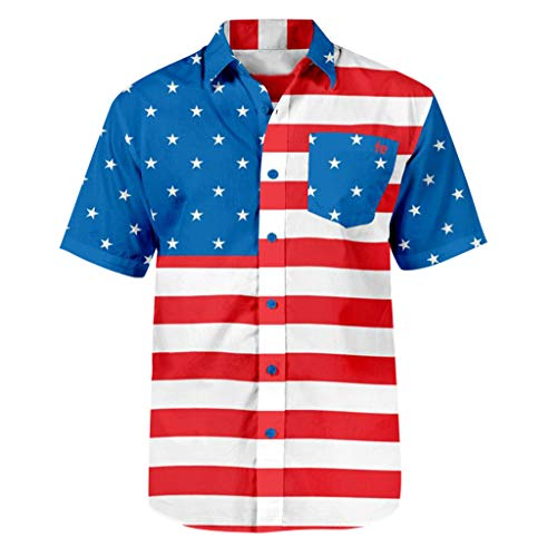 Price comparison product image GJK-SION July 4th Man Clothes American Flag Print Fashion Short Sleeve Stars Printed Pocket Buttons T-Shirt Blouse (Multicolor,  XL)