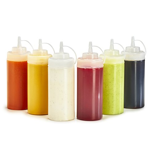 Condiment Dispenser Cabinet - Plastic Squeeze Bottles - 6-Pack Multipurpose Squirt Bottles For Condiments, Sauce, Dressing, More - Reusable Plastic Containers With Lids, BPA Free, Dishwasher Safe by Swizzle Bottles, 16 Ounce
