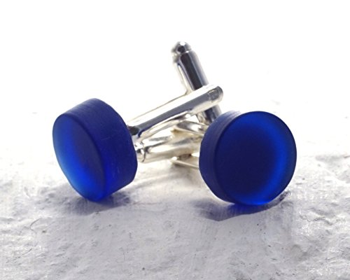 Cobalt Blue Cufflinks from Recycled Riesling Wine Bottle