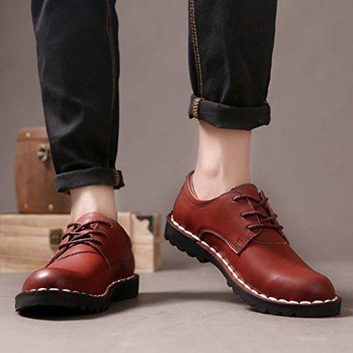 ZXCV Zapatos al aire libre Los zapatos de cuero de los hombres calzan los zapatos británicos de la cabeza los zapatos bajos redondos Rojo