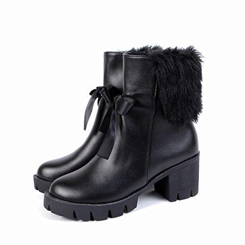 Carolbar Donna Faux Fur Zip Inverno Caldo Tacco Alto Stivali Corti Neri