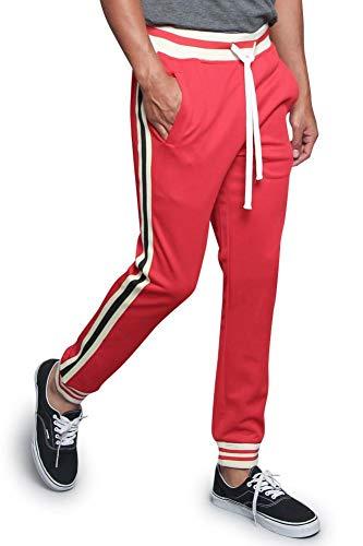 (Men's Triple Tone G Striped Waistband Outseam Ankle Cuff Drawstring Premium Track Pants TR577 - Red - Medium -)