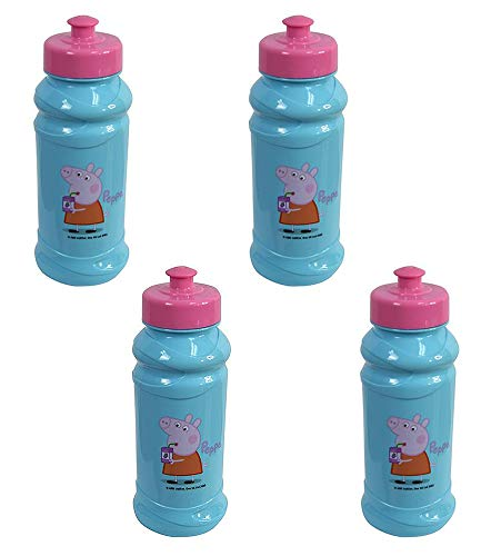 Zak Designs 4-Pack Peppa Pig Kids 16oz Pull-Top Water Bottles, Blue/Pink, BPA-Free