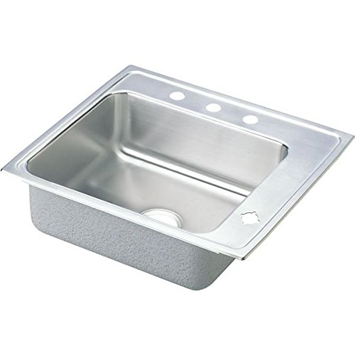 Elkay DRKR2220R4 4-Hole Lustertone 22-Inch Single Basin Drop-In Kitchen Sink