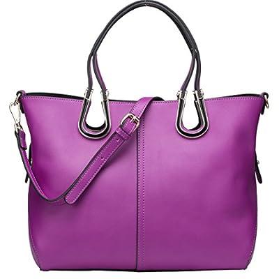 Missmay Women's Genuine Leather Handle Purse Handbag Shoulder Bag OL Brief Case
