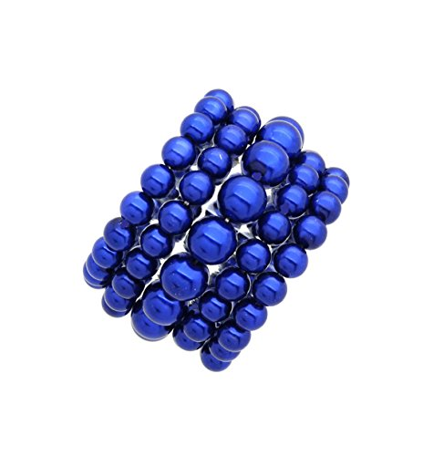Blue Elegant Bracelets (Women's Simulated Pearl Stretch Bracelet Stack 5 Piece Set (Many Colors Available) (Royal Blue))