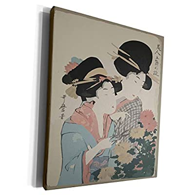 3dRose Florene - Asian Art II - Print of Woodcut Painting Ladies Look At Flowers - Museum Grade Canvas Wrap (cw_204188)