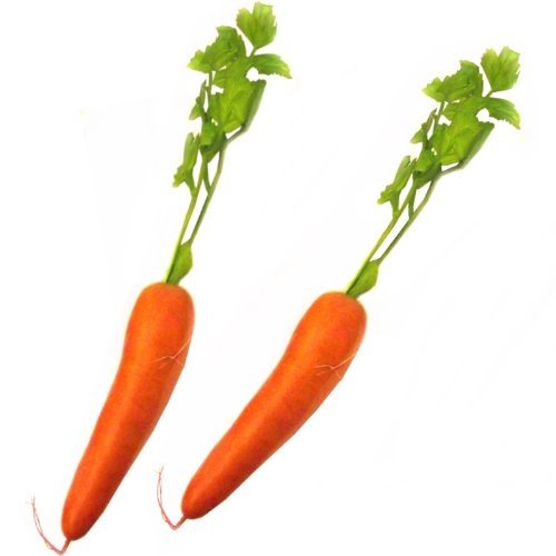 2 Artificial Carrots - Plastic Decorative Vegetables by CBI