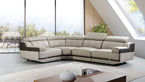 American Eagle Furniture Sherwood Collection Modern Top Grain Italian Leather Curved Sectional Sofa With Adjustable Headrests, Light ()