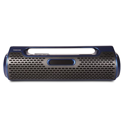 Toshiba Portable Wireless Bluetooth Speaker: Rechargeable Boombox with FM Radio and Clock - Blue