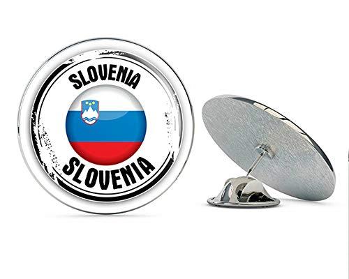 - Slovenia Glossy Flag Grunge Stamp Round Metal 0.75