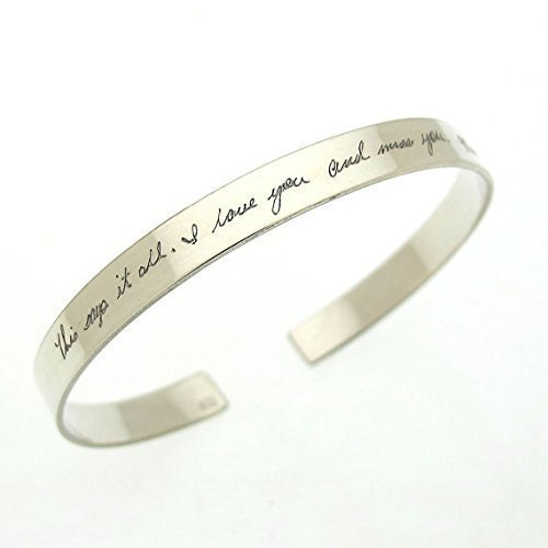 f4758f8c9af Amazon.com: Personalized Handwriting Bracelet for her - Sterling ...