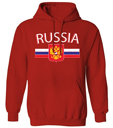 Russia Distressed Flag Stripe Banner -Russian Crest Mens Hoodie Sweatshirt (Red, Medium) ()