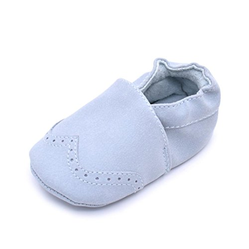 Gotd Newborn Baby Boy Girl Grib Shoes Soft Sole Toddler Shoes (S: 0~6 Months, Blue)