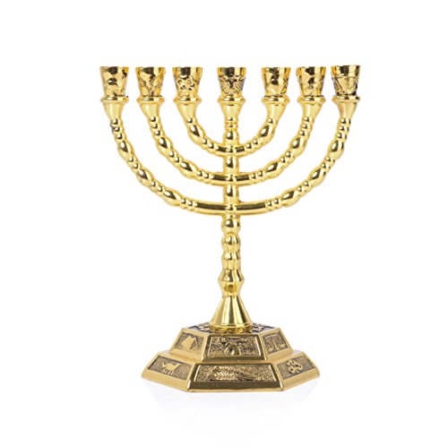 12 Tribes of Israel Menorah, Jerusalem Temple 7 Branch Jewish Candle Holder (5 Inches, Gold)