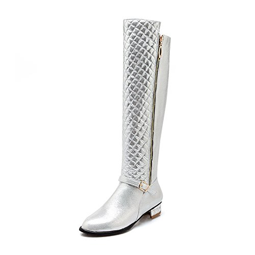 Allhqfashion Women's PU Blend Materials Round Closed Toe Above-The-Knee Low-Heels Boots Silver Yg95TtvUKk