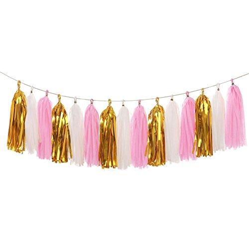 Koker Paper Tassels Garland Banner - Tissue Paper Tassels for Wedding, Birthday, Festival Party Wall Decoration (Metallic Gold+Pink+White), 15 PCS