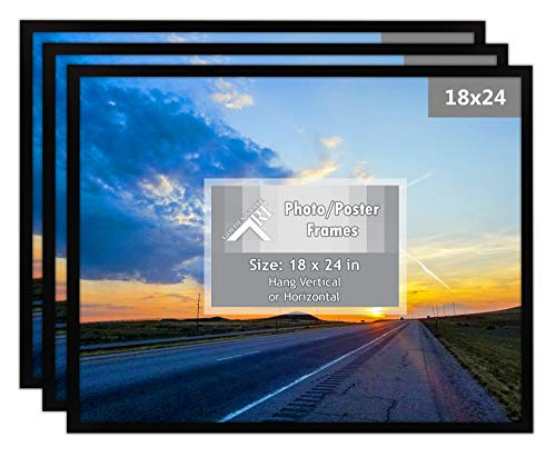 Golden State Art, Set of 3, 18x24 Black Poster Frame - Wall Mounting - Sawtooth Hangers - for Landscape or Portrait - Real Glass - Wall Photo Frame Collection