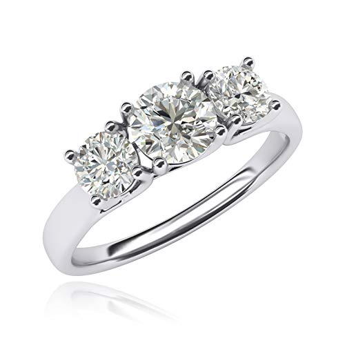 14k Simulated Diamond Engagement Ring - Fine 14k White Gold Three Stone Trellis Simulated Diamond Ring Promise Engagement ring 2.0ctw for Women (6)