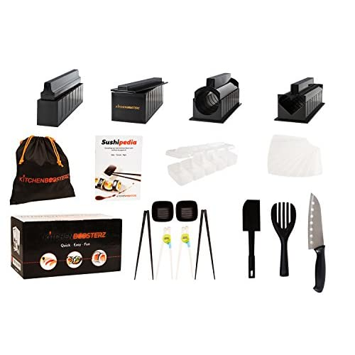 Sushi Making Kit - 17 Piece Beginner Set - 10 Shape Molds, Knife, Spatula, Fork, Chopsticks, Sauce Dishes & Sushi Maker...