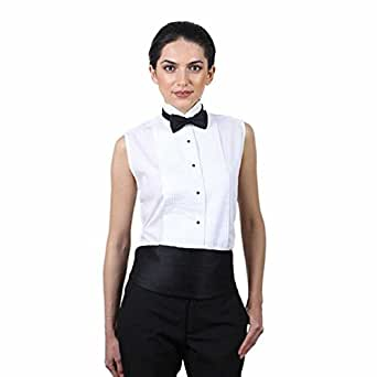 Women's White Sleeveless Tuxedo Shirt ( 4 )