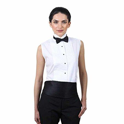 SixStarUniforms Women's White Sleeveless Tuxedo Shirt ()