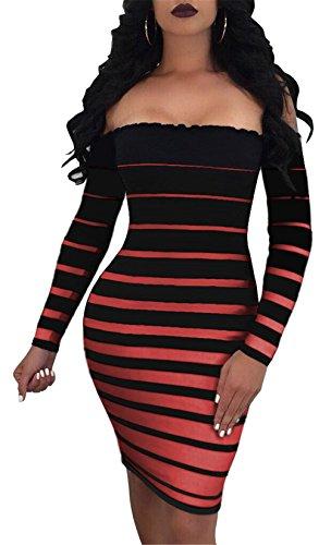 Fuori Bande Dress Didala Discoteca Delle Laterali Dalla Sexy Hip Lunga Pacchetto Rosso Manica Spalla Donne Stampata Wrap Onda OptwnqHwY