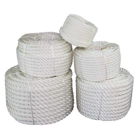 SGT KNOTS Twisted Nylon Rope (1/2 inch) Multipurpose Utility Line - Rot, Alkali, Chemical, Weather Resistant - Crafts, DIY Projects, Towing, Dock Lines, Heavy Load Uses (50 ft - White)