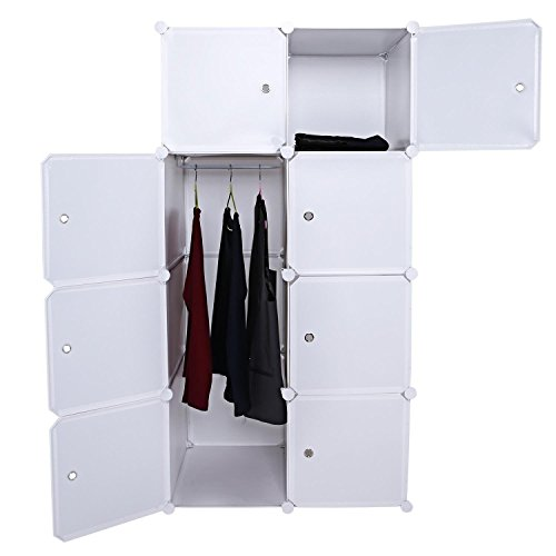 - Fashine 4-Tier Multi Use Plastic Wardrobe DIY Portable White 8 Cube Closet Organizer Shelf Freestanding Bedroom Armoire Book Toy Storage Cabinet with Doors Hanging Rod (US Stock)