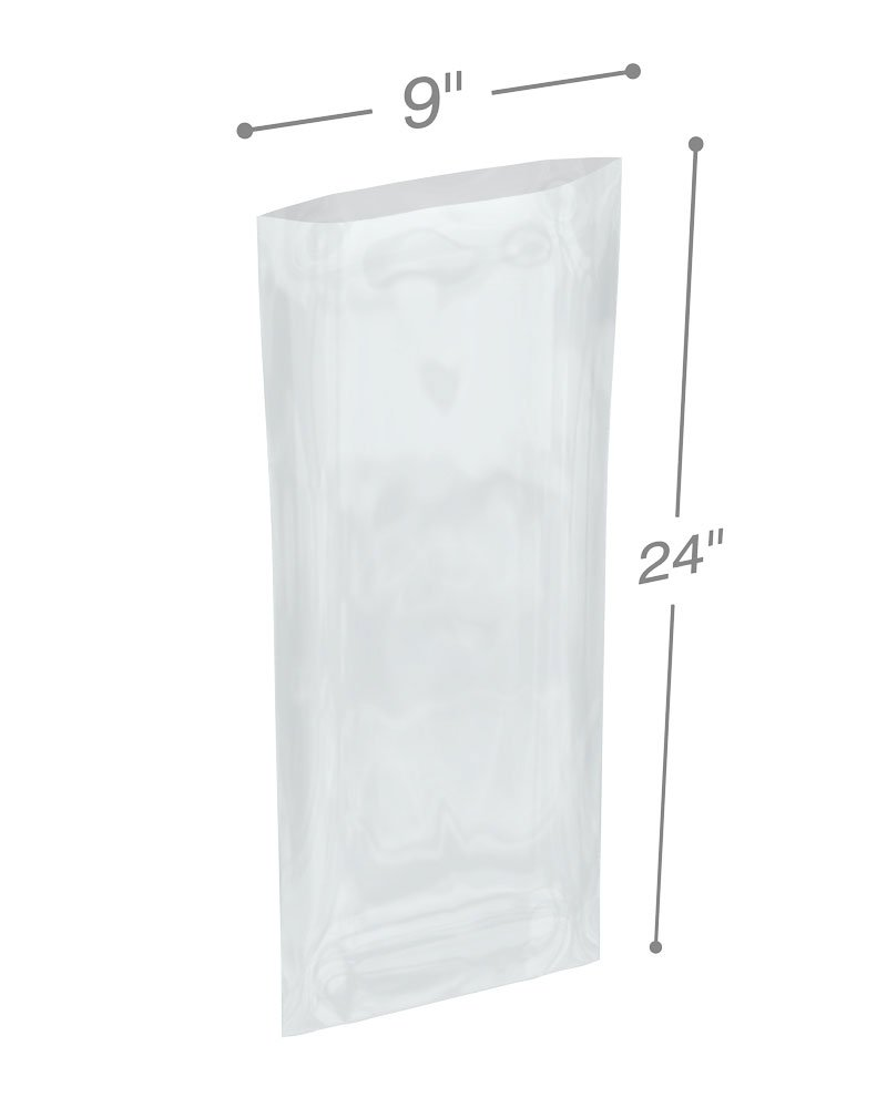 Interplas PB40924 4 Mil Poly Bags, LDPE, Clear, 24'' Height, 9'' Width (Pack of 500)