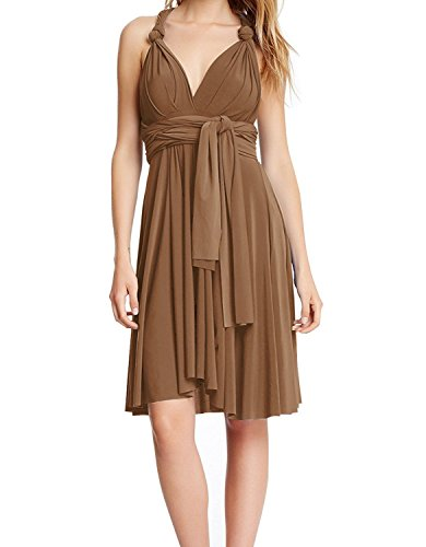 Women's V Neck Short Flowy Transformer Convertible Multi Way Wrap Evening Dress Summer Casual Wedding Bridesmaid Formal Party Grecian Swing Dress Halter Cocktail Dance Gown Brown XS