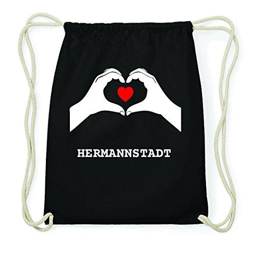 JOllify HERMANNSTADT Hipster Turnbeutel Tasche Rucksack aus Baumwolle - Farbe: schwarz Design: Hände Herz XU7vWe66ao
