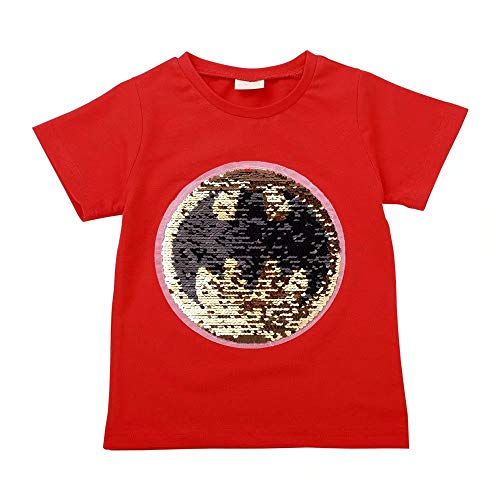 Tsyllyp Boys Child Kids Super Hero Magic Sequin T-Shirts Bat-Man Superman Shirt