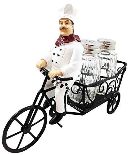 (K&N35 Indoor Collectible Salt and Pepper Shaker Set Kitchen Décor French Bistro Chef Pierre Riding Holder Sculpture Figurine Home)