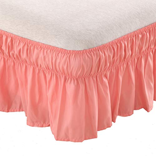 AYASW Bed Skirt-14 Inch Drop Wrap Around Ruffled (Queen/King, Pale Coral) Brushed Microfiber 1500 Adjustable Elastic Easy Fit
