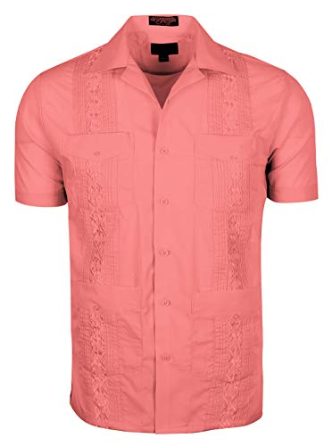 Volcan Men's Short Sleeve Cuban Guayabera Shirts (3XL, ()