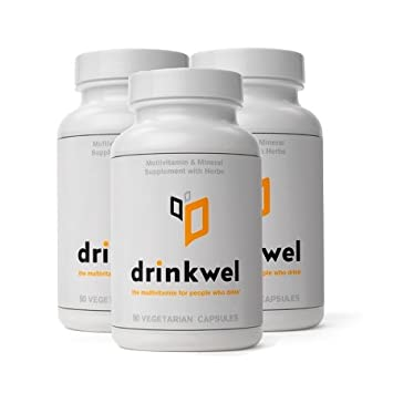 Drinkwel for Hangovers, Nutrient Replenishment Liver Support 90 Vegetarian Capsules with Organic Milk Thistle, N-acetyl Cysteine, Alpha Lipoic Acid, and DHM 3 Bottles