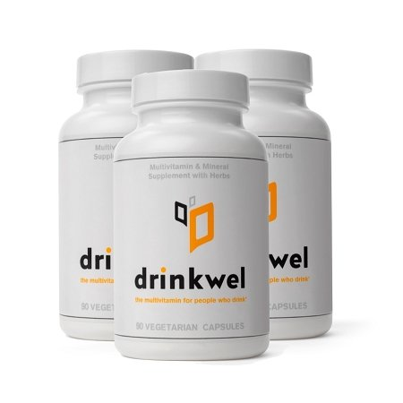 Drinkwel for Hangovers, Nutrient Replenishment & Liver Support (90 Vegetarian Capsules with Organic Milk Thistle, N-acetyl Cysteine, Alpha Lipoic Acid, and DHM) (3 Bottles)
