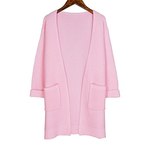 Korean Costume With Umbrella - Gome-z Chic Casual Long Knitted Korean Women Loose Solid Four Color Pocket Design Sweater pink M