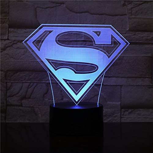 Dc Movie Superhero Superman Movie Superhero Logo Usb 3d Led Night Light Cartoon Superhero Boys Kids Birthday Kids Gift Table Lamp Bedside 2439 Amazon Co Uk Lighting