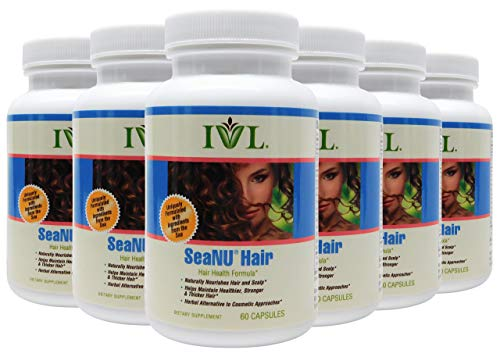 IVL - Seanu Hair Health Formula - Hair Health Formula, Naturally Nourishes Hair and Scalp, Helps Maintain Healthier Stronger Hair, Herbal Alternative, 60 Capsules (Pack of 6)