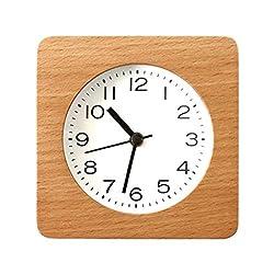 Goquik Desk Shelf Clocks Simple Japanese Solid Wood Clock Alarm Clock, Living Room Log Student Bedroom Bedside Table Clock Clocks