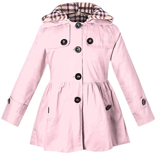 BINPAW Long Sleeves Fashion Casual Chino Cotton Hooded Hoodie Trench Coat Outerwear Windbreaker for Little Girls, A-Pink, Age 3T-4T (3-4 Years) = Tag 110]()