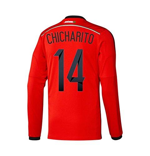 ベーシック排気ダッシュAdidas CHICHARITO #14 Mexico Away Jersey World Cup 2014 Long Sleeve/サッカーユニフォーム メキシコ アウェイ用 ワールドカップ2014 背番号14 チチャリート