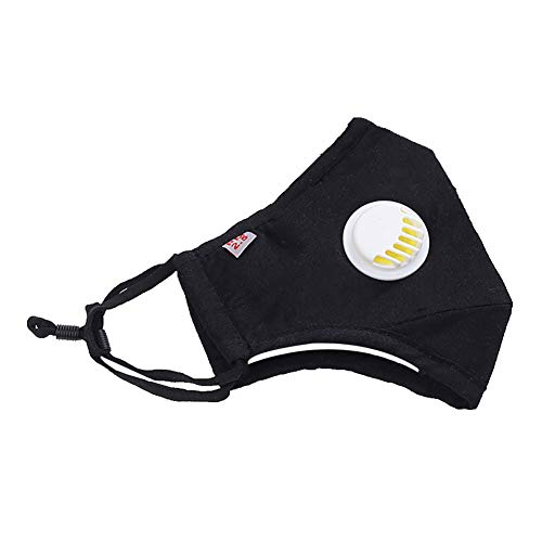Fenfangxilas Fashion Unisex Mouth Face Cover Protective Dustproof Anti Haze Outdoor Sports Riding Face Mouth with Valve Safety Face for Dust Protection – Black