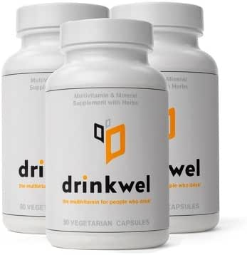 Drinkwel for Hangovers, Liver Support & Detox Multivitamin (3-Pack)