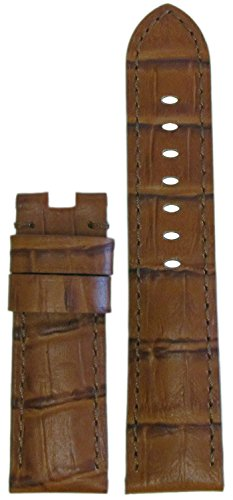 24mm Panatime Chestnut Genuine Leather Gator Watch Band with Match Stitching to fit Original Panerai Deploy Buckle 24/22 125/75